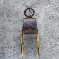 Muse Fringe Bag Walnut Brown Snake Embossed Leather