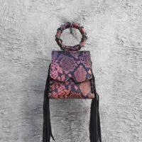 Muse Fringe Bag Smoky Pink Purple Snake Embossed Leather
