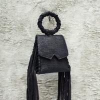 Muse Fringe Bag Black Lizard  Embossed Leather