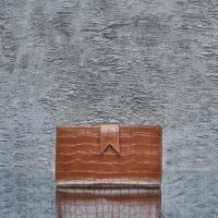 Travel Wallet Brown Crocodile Embossed Leather