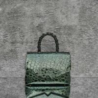 Hero Madam Patent Green Pebbled Crocodile Embossed Leather