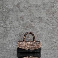 Hero Classic Distressed Metallic Bronze Crocodile Embossed Leather Black Calf Hide