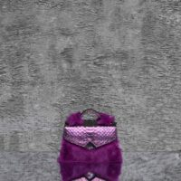 TKO Mini Metallic Mulberry Purple Snake Embossed Leather With Rabbit Fur