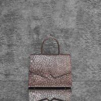 Alpha Madam Distressed Cedar Brown Gold Undertone Ostrich Embossed leather