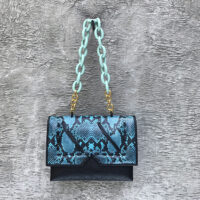 Reign Handbag Black Turquoise Snake Embossed Leather