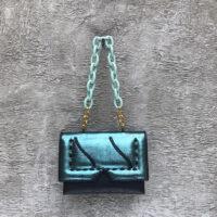 Reign Handbag Black Metallic Turquoise Calf Skin