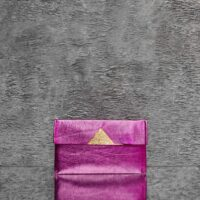 Easy Fold Pouch Distressed Pink Calf Skin Gold Calf Skin Insert