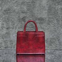 SST Madam Distressed Carman Red Crocodile Embossed leather